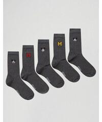 ASOS - Socken mit Mickey Mouse-Stickerei im 5er-Set - Grau