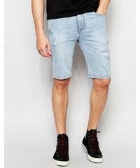 ASOS - Short en jean super skinny effet rapiécé - Bleu délavé clair - Bleu