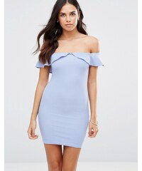 Oh My Love - Figurbetontes Bardot-Kleid mit Rüschen - Blau