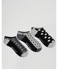 Penguin - Gepunktete Sneakersocken im 3er-Pack - Schwarz