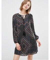 Style London - Robe avec imprimé géométrique et liens à pampilles - Multi