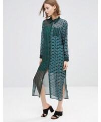 Style London - Robe chemise longue à imprimés variés - Vert