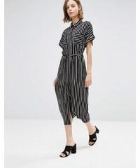 Style London - Robe chemise mi-longue à rayures - Noir