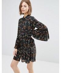 Style London - Robe tunique à manches évasées - Noir