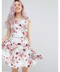Yumi - Robe patineuse à ceinture et imprimé romantique à fleurs - Blanc