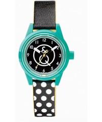 Q&Q Smile Solar gepunktete Armbanduhr türkis RP01J001Y