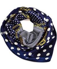 Šátek saténový 63sk003-36 - tmavě modrý s puntíky a řetízky