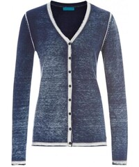 COOL CODE Damen Cardigan Strickjacke figurnah blau aus Baumwolle