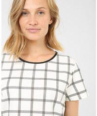 T-shirt texturé à carreaux blanc cassé, Femme, Taille L -PIMKIE- MODE FEMME