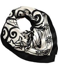 Šátek saténový 63sk009-03a - černobílý, mix vzorů