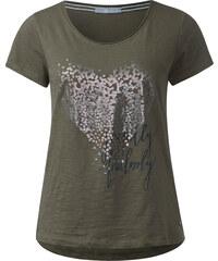 Cecil - T-shirt à cœur en paillettes - deep olive