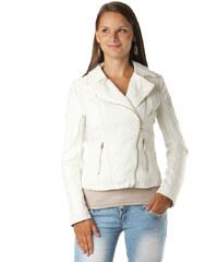 Denim Luxusní koženková bunda s krajkou bílá
