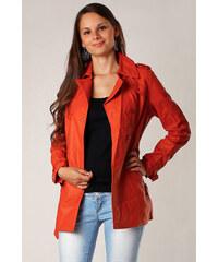 YooY Dámský koženkový kabátek oranžová