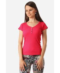 YooY Jednoduché tričko v několika barvách tmavě růžová