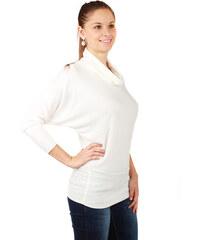 YooY Dámský svetr lichotící postavě s netopýřími rukávy bílá
