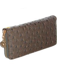 YooY Dámská luxusní peněženka umělá kůže hnědá