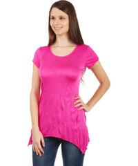 YooY Pohodlné tričko s krátkým rukávem tmavě růžová