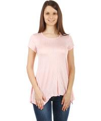 YooY Pohodlné tričko s krátkým rukávem světle růžová
