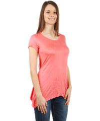 YooY Pohodlné tričko s krátkým rukávem lososová