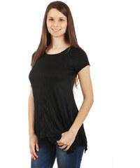 YooY Pohodlné tričko s krátkým rukávem černá