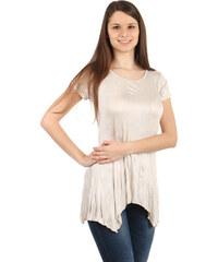 YooY Pohodlné tričko s krátkým rukávem béžová