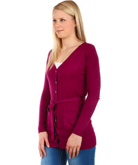 YooY Krásný jednoduchý svetr na knoflíky fialová