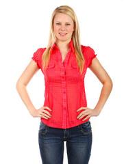 YooY Svůdná halenka s krátkým rukávem červená