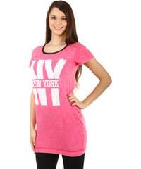YooY Krásné dlouhé tričko růžová