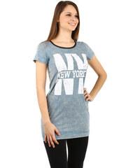 YooY Krásné dlouhé tričko světle modrá