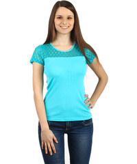 YooY Krásné tričko s průhlednou vsadkou tyrkysová