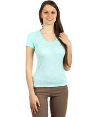 YooY Úžasné tričko s krajkou tyrkysová