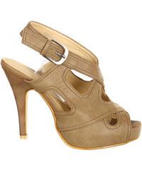 YooY Moderní otevřená dámská obuv s přezkou béžová