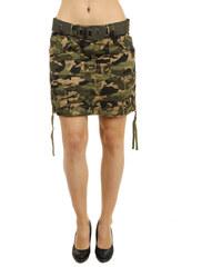 YooY Stylová army sukně s páskem žlutá