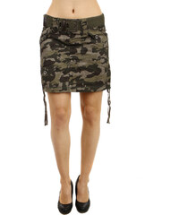 YooY Stylová army sukně s páskem hnědá