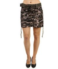 YooY Stylová army sukně s páskem světle hnědá