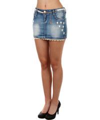 YooY Džínová sukně s kamínky a krajkou modrá