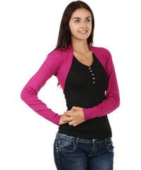 YooY Módní svetrové bolerko s dlouhým rukávem růžová
