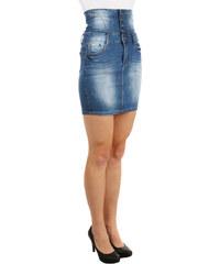 YooY Dámská riflová sukně s vysokým pasem (modrá 773c25454c