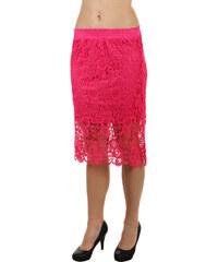 YooY Módní háčkovaná sukně růžová