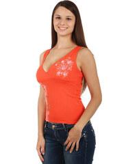 YooY Krásné tílko s hlubokým výstřihem a s potiskem oranžová