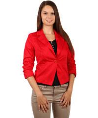YooY Stylové sako s 3/4 rukávy červená