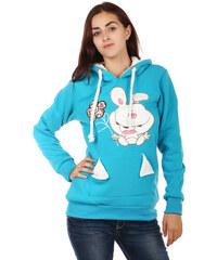 YooY Hřejivá mikina s obrázkem a ušima na kapuci modrá