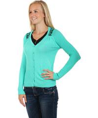 YooY Elegantní svetřík s krajkovou vsadkou tyrkysová
