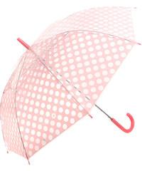 YooY Krásný vystřelovací retro deštník s puntíky světle růžová