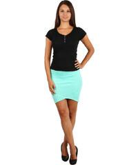 YooY Moderní úzká sukně s asymetrickým střihem zelená