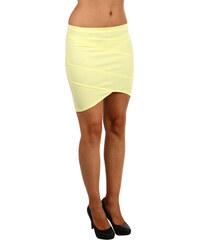 YooY Moderní úzká sukně s asymetrickým střihem žlutá
