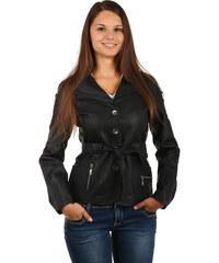 YooY Dámský kabátek na knoflíky a s páskem v pase černá