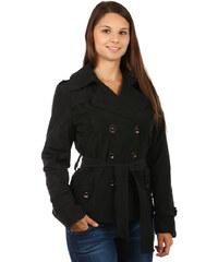 YooY Lehký stylový kabátek na knoflíky černá