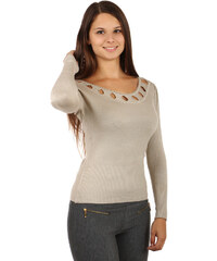 YooY Nápaditý dámský svetr béžová