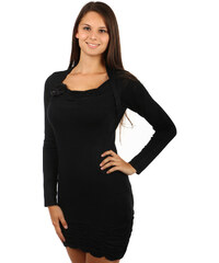 YooY Stylový delší svetr s látkovou broží černá